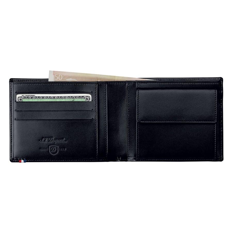 porte monnaie billets 4 cartes de cr dit cuir ligne d noir porte cartes s t dupont
