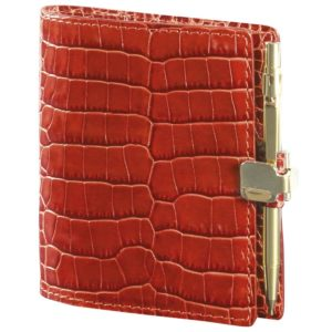 Agenda A Veau Croco Savannah Orange Avec Porte Mine