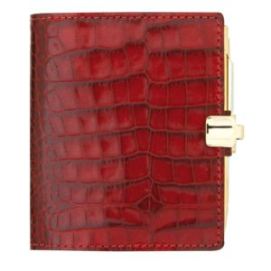 Agenda A Veau Croco Savannah Rouge Avec Porte Mine