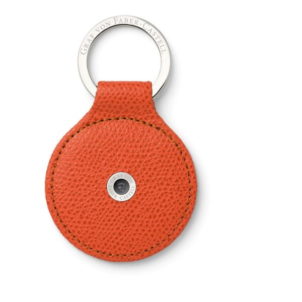 Porte Cles Rond Cuir Epsom Orange