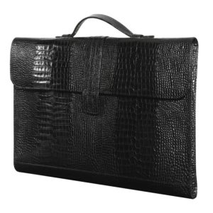 PORTE-DOCUMENT - VEAU Croco Savannah Noir