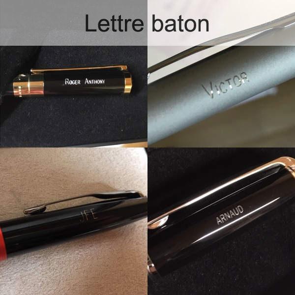 lettre baton gravure stylo