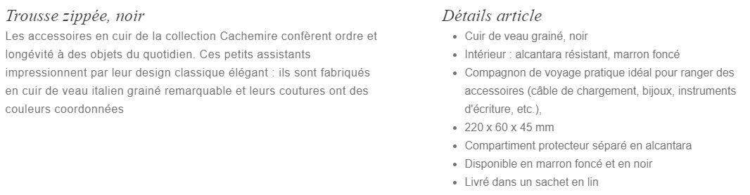 Description Trousse zippé noir